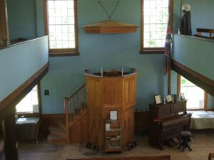 Inside view of Old Hay Bay Churchfrom balcony